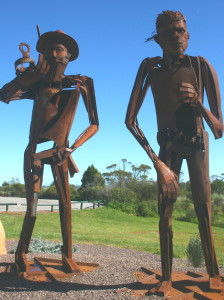 I love these iron sculptures of Eyre and a representative of his Australian co-explorers.