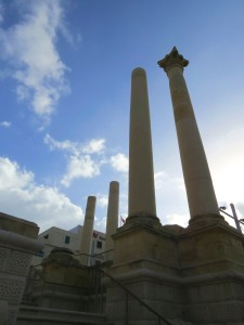 Columns at the site of the new Opera House. I'm sure someone must like this strange, stark rebuild.