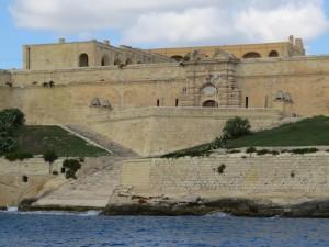 Marsamxett Harbour:  vast defences.